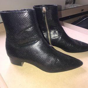 Black Zara snake skin printed booties